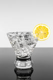 Fonkelende drank in een martini-glas met citroenplak Stock Foto's