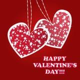 Fonkelende en fonkelende valentijnskaartenharten Stock Foto's