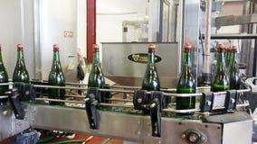 Fonkelende flessen op de transportband in fabriek stock videobeelden