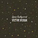 Fonkelende nachtenhemel met sterren en donkere ruimte Vectorhand getrokken modieuze achtergrond Royalty-vrije Stock Fotografie
