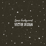 Fonkelende nachtenhemel met sterren en donkere ruimte Vectorhand getrokken modieuze achtergrond Stock Afbeeldingen