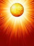 Fonkelende oranjerode discobal. EPS 8 Stock Foto