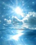 Fonkelende ster over blauw meer Stock Afbeeldingen