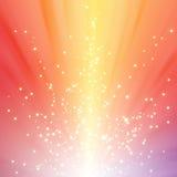 Fonkelende sterren op kleurrijke lichte uitbarsting Royalty-vrije Stock Foto