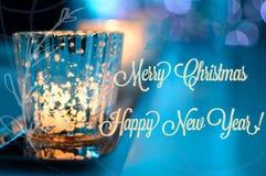 Fonkelende Vrolijke Kerstkaart en Gelukkig Nieuwjaar Royalty-vrije Stock Foto's