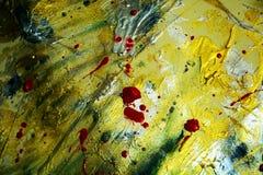 Fonkelende zilveren gouden rode verfachtergrond De abstracte achtergrond van de waterverfverf Stock Afbeelding