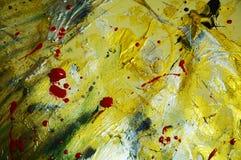 Fonkelende zilveren gouden zwarte rode verfachtergrond De abstracte achtergrond van de waterverfverf Stock Foto's