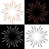 Fonkelt starburst zonnestraal kleurrijk embleem royalty-vrije illustratie