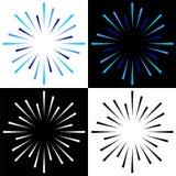 Fonkelt starburst zonnestraal kleurrijke emblemen royalty-vrije illustratie