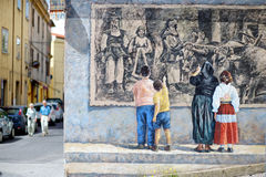 FONNI, ITALY - MAY 21, 2014: Wall paintings Royalty Free Stock Photo