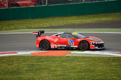 Fons Scheltema Ferrari 458 Challenge Evo at Monza. Fons Scheltema drives his Ferrari 458 Challenge Evo during the first race of Shell Cup 2016 for Kessel Racing Royalty Free Stock Images