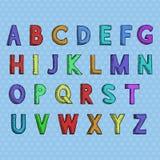 font Χρωματισμένο συρμένο χέρι αλφάβητο διανυσματική απεικόνιση