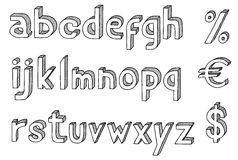 Font. Hand drawn  abc, alphabet with dollar and euro Stock Images