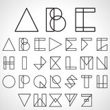 Font, ABC in geometric style. Vector Stock Image