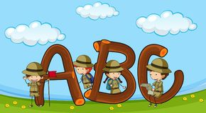 Font ABC with kids in boyscout uniform Royalty Free Stock Images