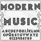 Font alphabet label typeface  modern music Stock Images