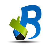 Font alphabet.  Letter B with best choice symbol. Hand gesture label. Royalty Free Stock Photo