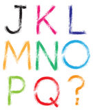 Font. Alphabet. #1. Letters J-Q + question mark (?). Royalty Free Stock Photography