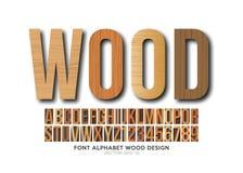 Font alphabet number Wood effect vector. Font alphabet wood letterpress in vector format royalty free illustration