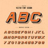 Font and alphabet vector, style letter design and graphic text on grunge orange background. Font and alphabetical vector on background, letter and text graphic stock illustration
