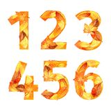 Font of autumn leaves. number. watercolor. Royalty Free Stock Photo