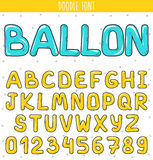 Font ballon. Set volume letters, numbers in doodle. Letters handdrawn Royalty Free Stock Photography