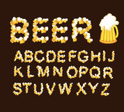 Font beer. Letters from beer mugs. Font beer. Draught beer. Letters from beer mugs royalty free illustration