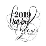 Font Black. Happy 2019 New Year. Holiday Vector Illustration Wit stock illustration