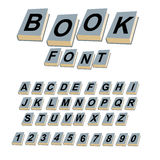 Font book. Alphabet on covers of books. ABCs of log on vintage. Hardcover books. Old books with letters. Set of alphabetic characters and digits creative for vector illustration