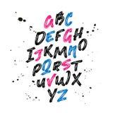 font Borstel geschilderde brieven Hand getrokken Alfabet lettering royalty-vrije illustratie
