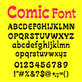Font Cartoot   alphabet and number yelow  backgrond vector illus Stock Photography