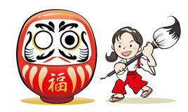 Shrine maiden and Dharma doll vector illustration