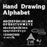 Font chalk hand drawing alphabet. Chalkboard Royalty Free Stock Photos