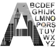 FONT CITYSCAPE skyscrapers.gray black and white . Royalty Free Stock Photo