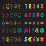 123 font. Colorful grunge style number and symbol fonts Vector Illustration