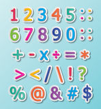 123 font. Colorful paper font signs. numbers and symbols Royalty Free Stock Photography