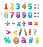 123 font. Colorful paper font signs. numbers and symbols Vector Illustration