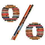 Font composed of spines of books Stock Photos