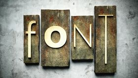 Font concept with vintage letterpress Stock Photo