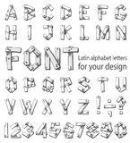 Font consisting of the Latin alphabet and digits Royalty Free Stock Image