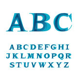 The font consisting of three letters. The font consisting of three types of the letters imposed at each other in blue color Royalty Free Stock Image