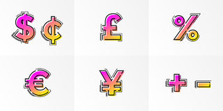 Font currency signs alphabet set letters vector gradient color line Stock Photos