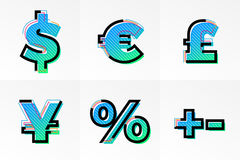 Font currency signs memphis symbols set letters vector gradient color line Royalty Free Stock Photo