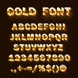 Font 3d gold sign set, template design element, Vector illustration royalty free illustration