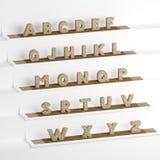 Font 3D illustration, big letters standing Royalty Free Stock Images
