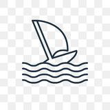 Font de la planche à voile l'icône de vecteur d'isolement sur le fond transparent, linéaire illustration de vecteur