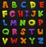 Font design for english alphabets in many colors Royalty Free Stock Photos
