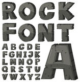Font design for english alphabets with stone block Royalty Free Stock Images