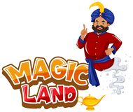 Free Font Design For Word Magic Land With Giant Coming Out Of The Lamp Royalty Free Stock Image - 178259926