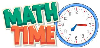 Free Font Design For Word Math Time With Big Clock In Background Stock Image - 180868941
